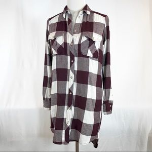 Aritzia Wilfred Free Plaid Flannel Shirt Dress XXS